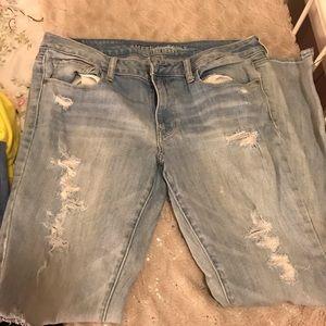American Eagle Light blue jean ripped skinny jeans